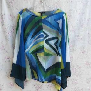 Chico's black label sheer blouse size medium